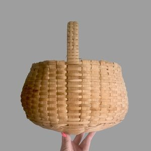 HAND WOVEN Boho Basket Natural Wicker with Handle